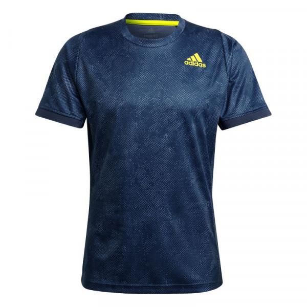 Męski T-Shirt Adidas Freelift Printed Primeblue Tee M - crew navy/acid yellow/crew blue