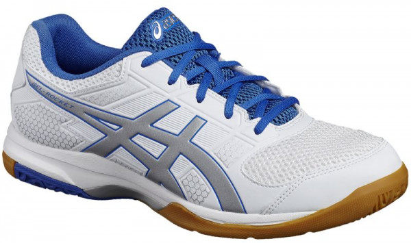 Squash shoes Asics Gel-Rocket 8 - white/silver/classic blue