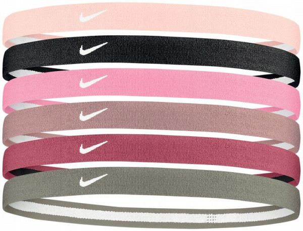 Opaska na głowę Nike Swoosh Sport Headbands 6PK 2.0 - barely rose/black/ magic flamingo