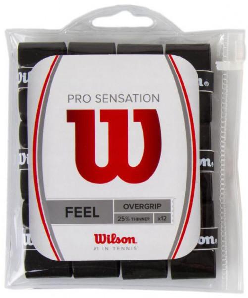 Tenisa overgripu Wilson Pro Overgrip Sensation 12P - black