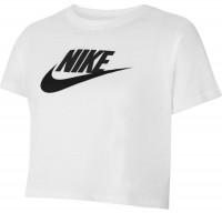 Koszulka dziewczęca Nike Sportswear Crop Futura Tee - white/black/black