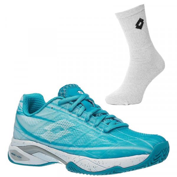 Damskie buty tenisowe Lotto Mirage 300 Clay W - blue bird/all white + 1 para skarpet lotto