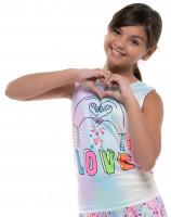 Majica kratkih rukava za djevojčice Lucky in Love Novelty Print Animoji Love Tie Back Tank Girls - multicolor