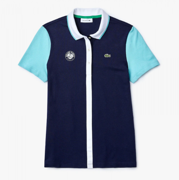 Polo marškinėliai moterims Lacoste Women's SPORT Roland Garros Colourblock Cotton Polo Shirt - navy blue/turq