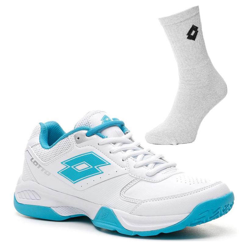 Damskie buty tenisowe Lotto Space 600 All Round - all white/blue bird + 1 para skarpety lotto