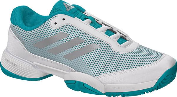 Juniorskie buty tenisowe Adidas Barricade Club xJ - hi-res aqua/ftw white/metallic silver