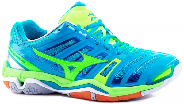 Damskie buty do squasha Mizuno Wave Stealth 4 - blue/lime/white