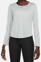 Damski T-shirt (dł. rękaw) Nike Dri-FIT One Women's Standard Fit Top - particle grey/heather/black