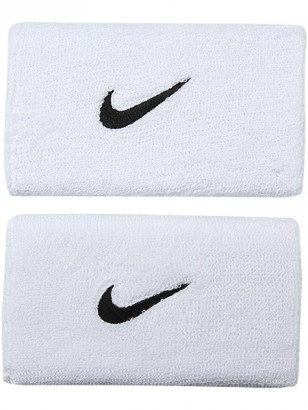 Frotki Tenisowe na nadgarstki Nike Swoosh Double-Wide Wristbands - white/black