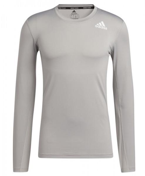 Meeste tennisemaika Adidas TechFit Long Sleeve Tee - mgh solid grey