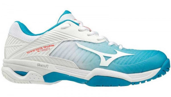 Damskie buty tenisowe Mizuno Wave Exceed Tour 3 CC Women - blue jewel/white/fiery coral