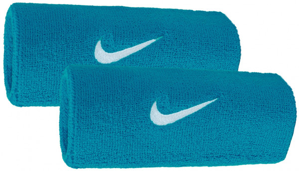 Nike Swoosh Double-Wide Wristbands - neo turquise/white