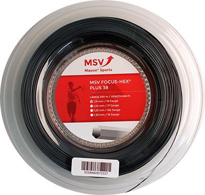 Tennis String MSV Focus Hex Plus 38 (200 m) - black