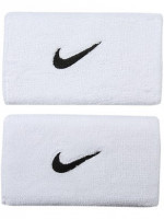 Frotka tenisowa Nike Swoosh Double-Wide Wristbands - white/black