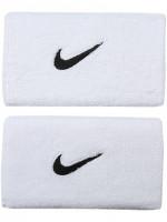 Frotka tenisowa Nike Swoosh Double-Wide Wristbands - white/black