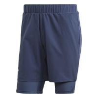 Męskie spodenki tenisowe Adidas 2in1 Short Heat Ready 9in - tech indigo/dash green