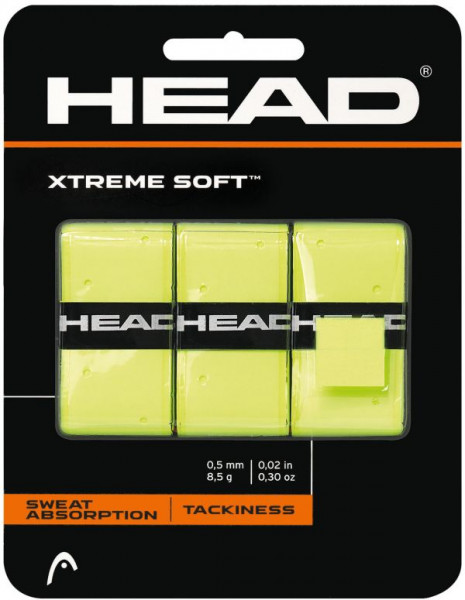 Owijki tenisowe Head Xtremesoft (3 szt.) - limon