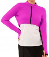 T-krekli sievietēm Lucky in Love Rockin Rococo Cropped Moto Long Sleeve Women - pitaya