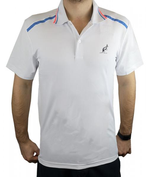 Męskie polo tenisowe Australian Technical Piquet Polo with Print - bianco