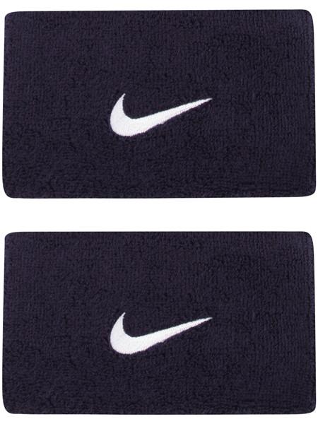 Frotki Tenisowe na nadgarstki Nike Swoosh Double-Wide Wristbands - obsidian/white