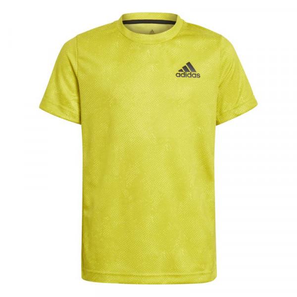 Koszulka chłopięca Adidas Heat Ready Primeblue Freelift Tee - acid yellow/wild pine/white