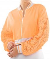 Ženski sportski pulover Lucky in Love Eyelet Go Lace Cropped Bomber Jacket Women - orange frost/white