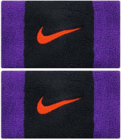Nike Swoosh Double-Wide Wristbands - black/court purple/chile red