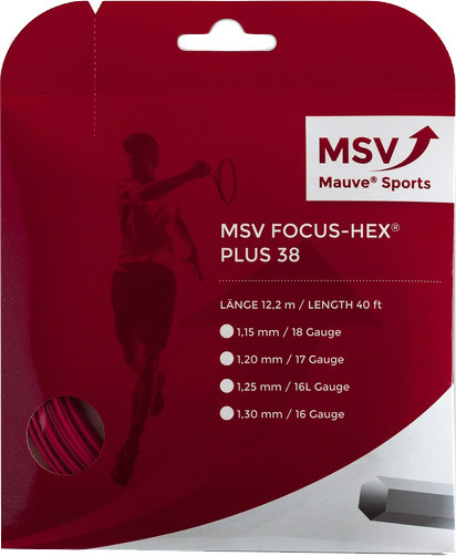 Tenisa stīgas MSV Focus Hex Plus 38 (12 m) - red