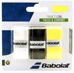 Owijki tenisowe Babolat Traction (3 szt.) - white/black/yellow
