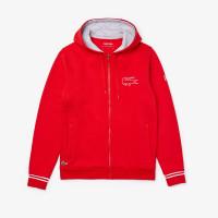 Męska bluza tenisowa Lacoste Novak Djokovic Zippered Hoody Sweatshirt - red/grey chine/white