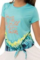 Majica kratkih rukava za djevojčice Lucky in Love Girls Peace Out Serve With Love Tee - opal