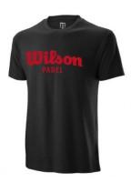 Męski T-Shirt Wilson M Padel Script Cotton Tee - black