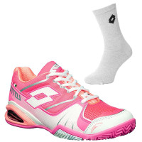 Damskie buty tenisowe Lotto Stratosphere Woman Clay - pink/white + 1 para skarpet lotto