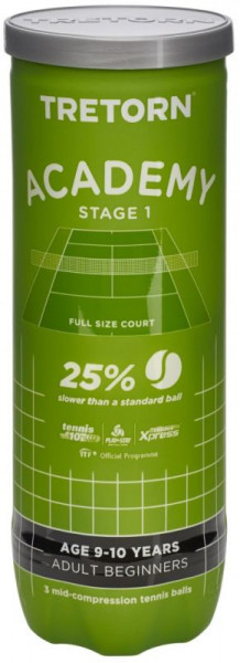 Teniso kamuoliukai pradedantiesiems Tretorn Academy Green - 3 vnt.