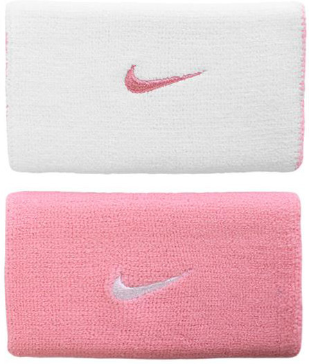 Frotka tenisowa Nike Premier Home & Away Double Wide Wristbands - perfect pink/white