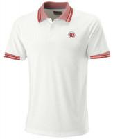 Męskie polo tenisowe Wilson M Pro Staff Classic Tipped Polo - white/red