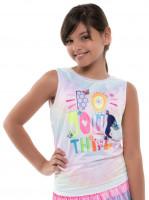Majica kratkih rukava za djevojčice Lucky in Love Novelty Print Crafty Scribble Tie Back Tank Girls - multicolor