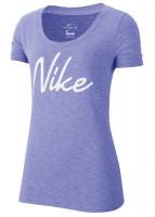 Damski T-shirt Nike Dri-Fit Women Scoop Logo Tee - light thliste/heather/white