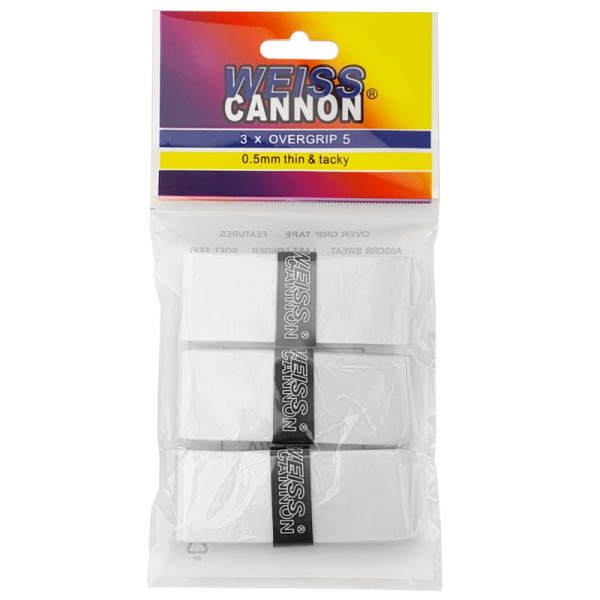 Owijki tenisowe Weiss Cannon Mystery Overgrip 5 3P - white
