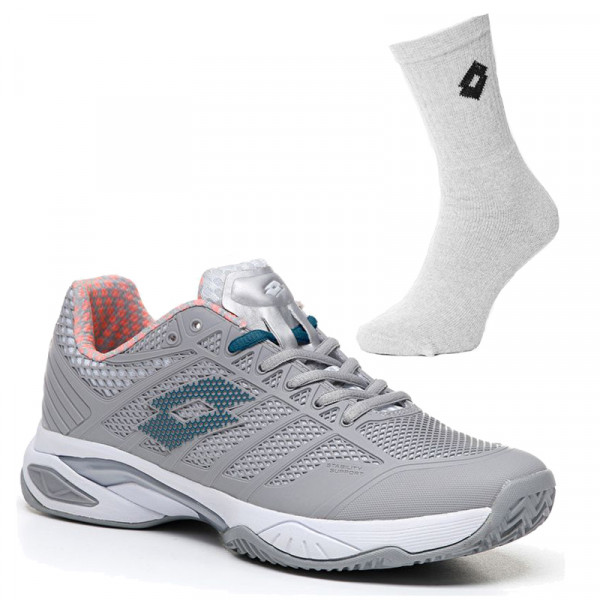 Damskie buty tenisowe Lotto Viper Ultra IV Clay Women - grey/green + 1 para skarpet lotto