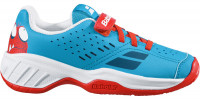 Juniorskie buty tenisowe Babolat Pulsion All Court Kid - tomato red/blue aster