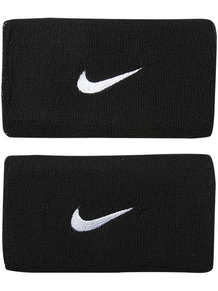Frotka tenisowa Nike Swoosh Double-Wide Wristbands - black/white