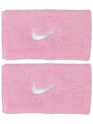 Nike Swoosh Double-Wide Wristbands - perfect pink/white