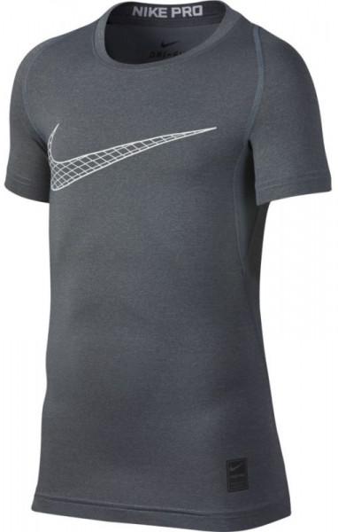 Koszulka chłopięca Nike Pro SS Comp Top - carbon heather/white