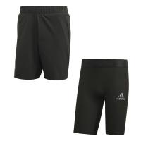 Męskie spodenki tenisowe Adidas 2in1 Short Heat Ready 9in - legend earth/grey two
