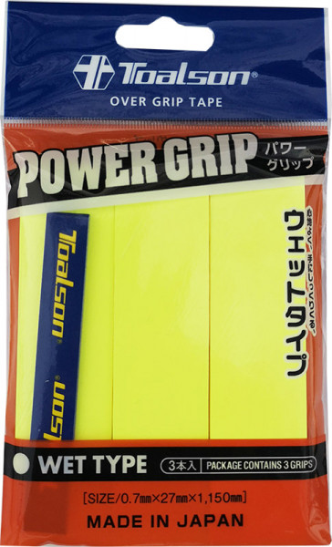 Owijki tenisowe Toalson Power Grip (3 szt.) - yellow