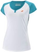 Koszulka dziewczęca Babolat Play Cap Sleeve Top Girl - white/caneel bay