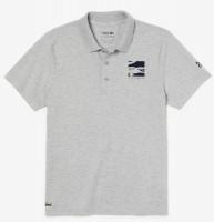 Męskie polo tenisowe Lacoste Men's SPORT Novak Djokovic Lightweight Cotton Polo - grey chine/navy blue