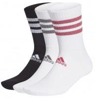 Skarpety tenisowe Adidas Glam 3 Stripes Cushioned Crew Sport Socks 3PP - white/black/wild pink/grey