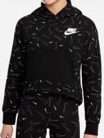 Bluzonas mergaitėms Nike Sportswear Fleece AOP Hoodie G - black/white